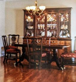 Ethan Allen 18th C Mahogany Dining Set 8 Chairs, Table, Side