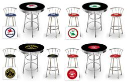 3 Piece Round Black Bar Table Set with Backrest Stools and a