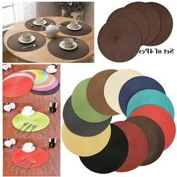 """4PCS Placemat Table Insulation Mat 15"""" Round PP Crossweave W"""
