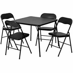 5-Piece Padded Black Folding Card Table & Chairs for Holiday
