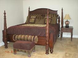 Thomasville 5 Piece Wood Bed, Dresser, 2 End Tables, and Pad