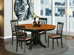 """5pc dining set 42x60"""" oval pedestal table w/ leaf + 4 padded"""