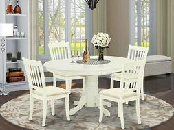 5pc Dining Set, Avon 42x60 oval pedestal table + 4 padded ch
