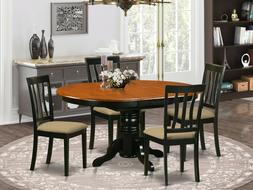 5pc oval pedestal kitchen dining set table + 4 padded chairs