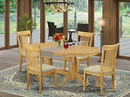 5pc oval Vancouver dining room set table + 4 Portland padded