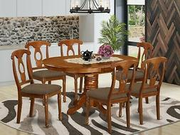 7pc Avon oval dinette kitchen dining set table with 6 padded