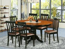 """7pc dining set 42x60"""" oval pedestal table w/ leaf + 6 padded"""