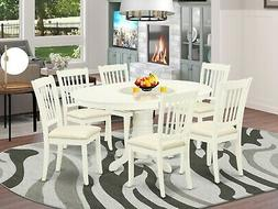 7pc Dining Set, Avon 42x60 oval pedestal table + 6 padded ch