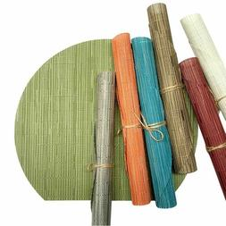 Bamboo Weave Placemats Table Pad Oilproof Solid Color Nordic