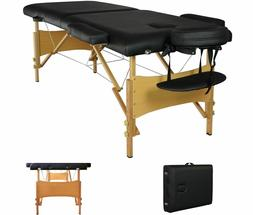 """New Black 73"""" Portable Massage Table w/Free Carry Case Chair"""