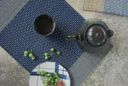 Blue Table mat, rectangle pad, handmade kitchen placemat, se
