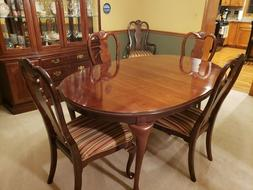 Bernhardt Cherry Dining Room Set, Table, 6 chairs and China