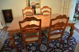 ETHAN ALLEN COUNTRY FRENCH DINING ROOM TABLE & PADS & CUSTOM