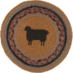 """Country Rustic Braided Jute 8"""" Round Trivet with stenciled S"""