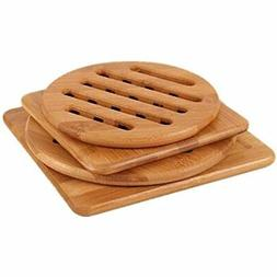 Hot Pads Trivet, Table Solid Bamboo Wood Trivets For Dishes