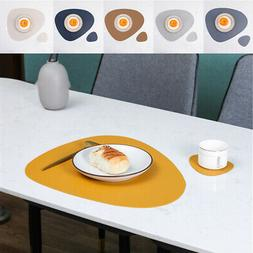 Leather Dining Table Place Mats, Heat Insulation Kitchen Tab