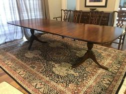 Henkel Harris Mahogany Dining Room Table with 4 Leafs and Fe