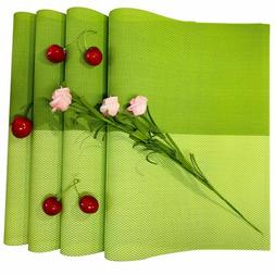 Placemats PVC Washable Heat Resistant Dinner Table Pad Green