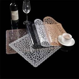 Rectangle Placemat PVC Hollow Coasters Pads Insulation Table