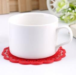 Set of 6 Red Lace Silicone Coasters, Mats, Heat Pads,Table P